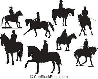 koń, silhouettes., ilustracja, wektor, osiem, jeździec