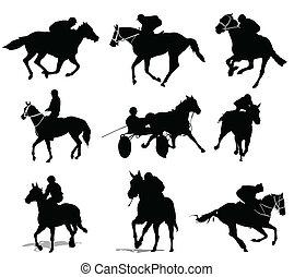 koń, silhouettes., jeźdźcy