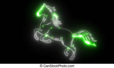 koń, sylwetka, ożywienie, wyścigi