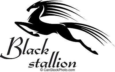 koń, sylwetka, skokowy, czarnoskóry, projektować, maskotka