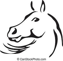 koń, wektor, czarnoskóry, biały, szkice