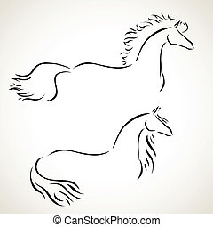 koń, wektor, rysunek