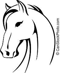 koń, wektor, sylwetka, głowa