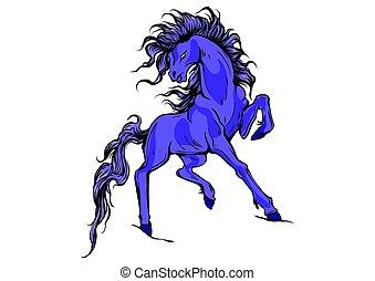 koń, wektor, sylwetka, wyścigi, ilustracja