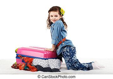 końce, mały, modny, walizka, dziewczyna, odzież