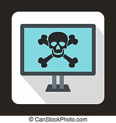 kość, hydromonitor komputera, czaszka, ikona