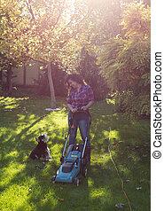 kośba, pies, kobieta, batyst, ogród