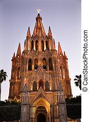 kościół, światła, meksyk