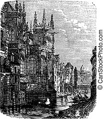 kościół, od, saint-pierre, caen, normandy, francja, rocznik...
