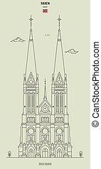 kościół, punkt orientacyjny, skien, norway., ikona