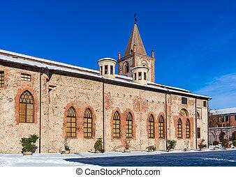 kościół, stary, ulica., śnieżny