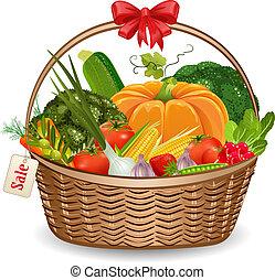 koš, čerstvá zelenina, jako, tvůj, design