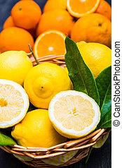 koš, čerstvý, citrón