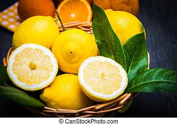 koš, čerstvý, plný, citrón