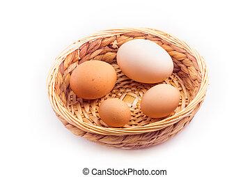 koš, čtyři, malý, kuře, neobvyklý, vejce, proutěný, -, tlouška