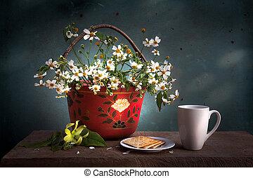 koš, živost, klidný, květ