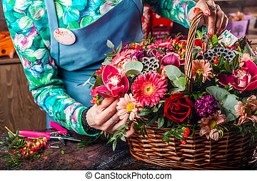 koš, flowers.