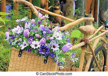koš, jezdit na kole, bambus, květ
