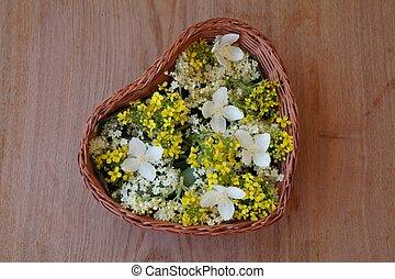 koš, květiny