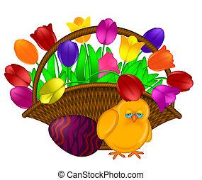koš, o, barvitý, tulipán, květiny, s, kuřátko, ilustrace