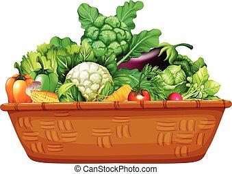 koš, plný, o, čerstvá zelenina