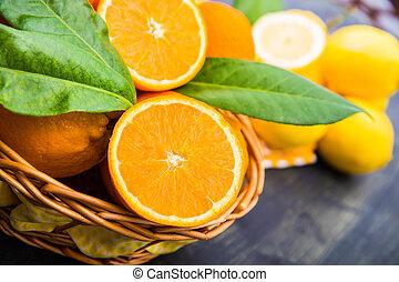 koš, pomeranč, plný, čerstvý