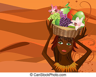koš, portrét, ovoce, domorodec