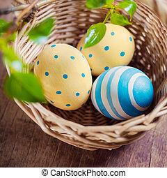 koš, s, velikonoční obalit v rozšlehaných vejcích