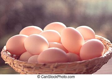 koš, vejce, proutěný, organický