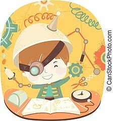 koźlę, chłopiec, eksperyment, ilustracja, steampunk