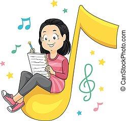 koźlę, dziewczyna, śpiew, ilustracja, pisanie