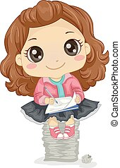 koźlę, dziewczyna, twórczy, ilustracja, pisanie