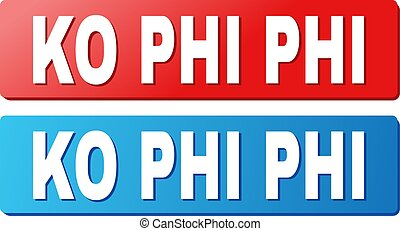 KO PHI Caption on Blue and Red Rectangle Buttons - KO PHI...