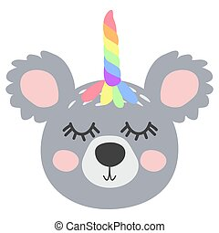 Magic Cute Unicorn Koala Bear with Rainbow Horn. Kawaii Animal t-shirt Print, Baby Shower Card