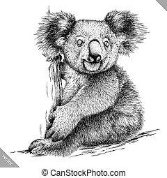koala, aislado, ilustración, vector, negro, grabar, blanco