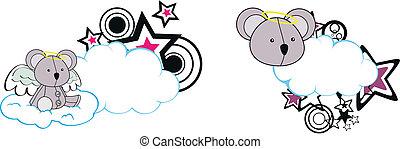 koala angel cartoon cloud copyspace