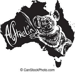 Koala as Australian symbol - Koala (Phascolarctos cinereus)...