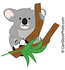 Koala Bear in Eucalyptus Tree with Soccer Ball Illustration with Clipping Path
