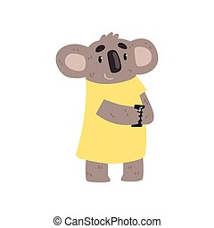 Koala bear standing with smartphone, cute animal cartoon character with modern gadget vector Illustration on a white background