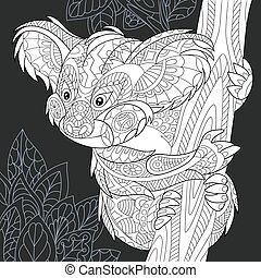Koala black and white coloring page