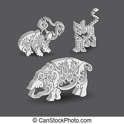 Koala, Cat, Pig Decorations