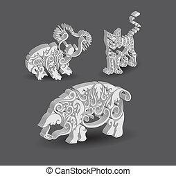 koala, chat, décorations, cochon