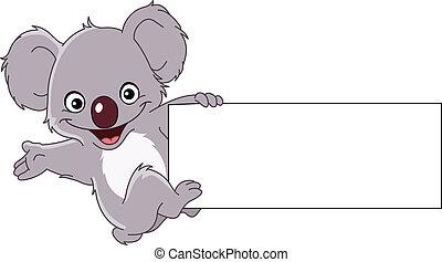 koala, con, señal