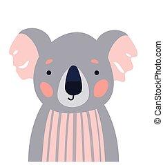 Koala cute animal baby face vector illustration. Hand drawn style nursery character. Scandinavian funny kid design