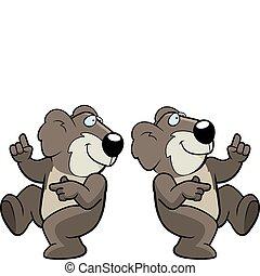 Koala Dancing - A happy cartoon koala dancing and smiling.