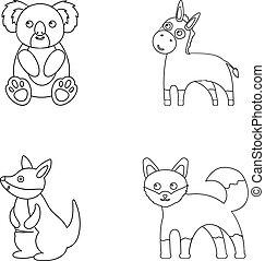 Koala, donkey, fox, kangaroo.
