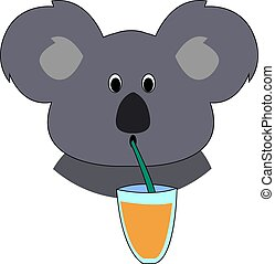 Koala drinking juice, illustration, vector on white background.