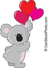 Koala Heart Balloons - A koala is holding 3 heart shaped...