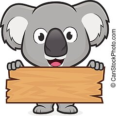 Clipart picture of a koala cartoon character holding a plank of wood