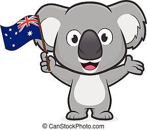 Clipart picture of a koala cartoon character holding australian flag